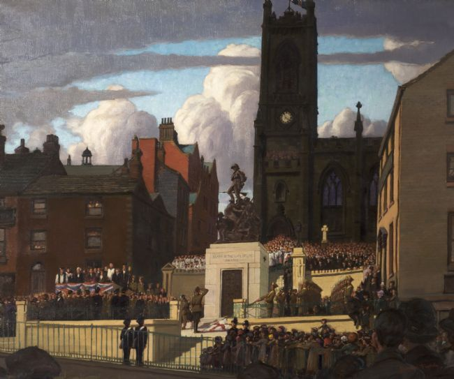 Painting of the unveiling of Oldham War memorial