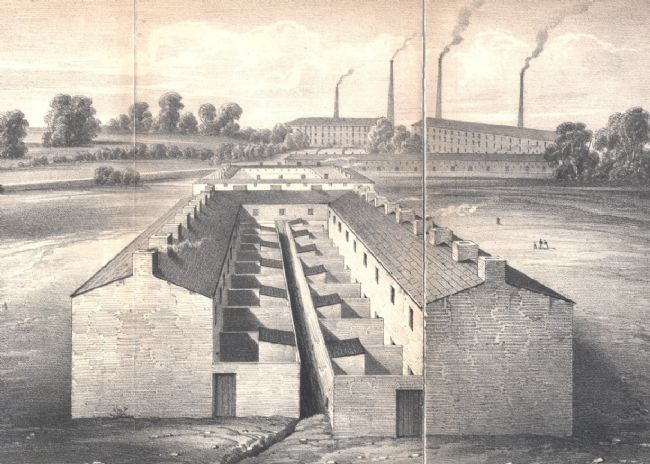Illustration of a street of Victorian workers' cottages in Preston with factory chimneys in the background