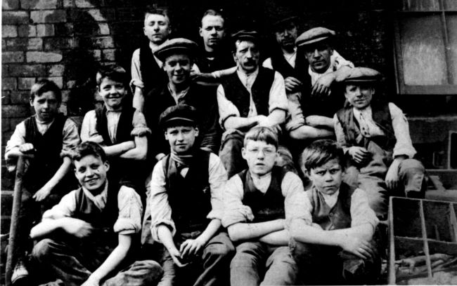 Group photograph of Victorian workers - men and boys