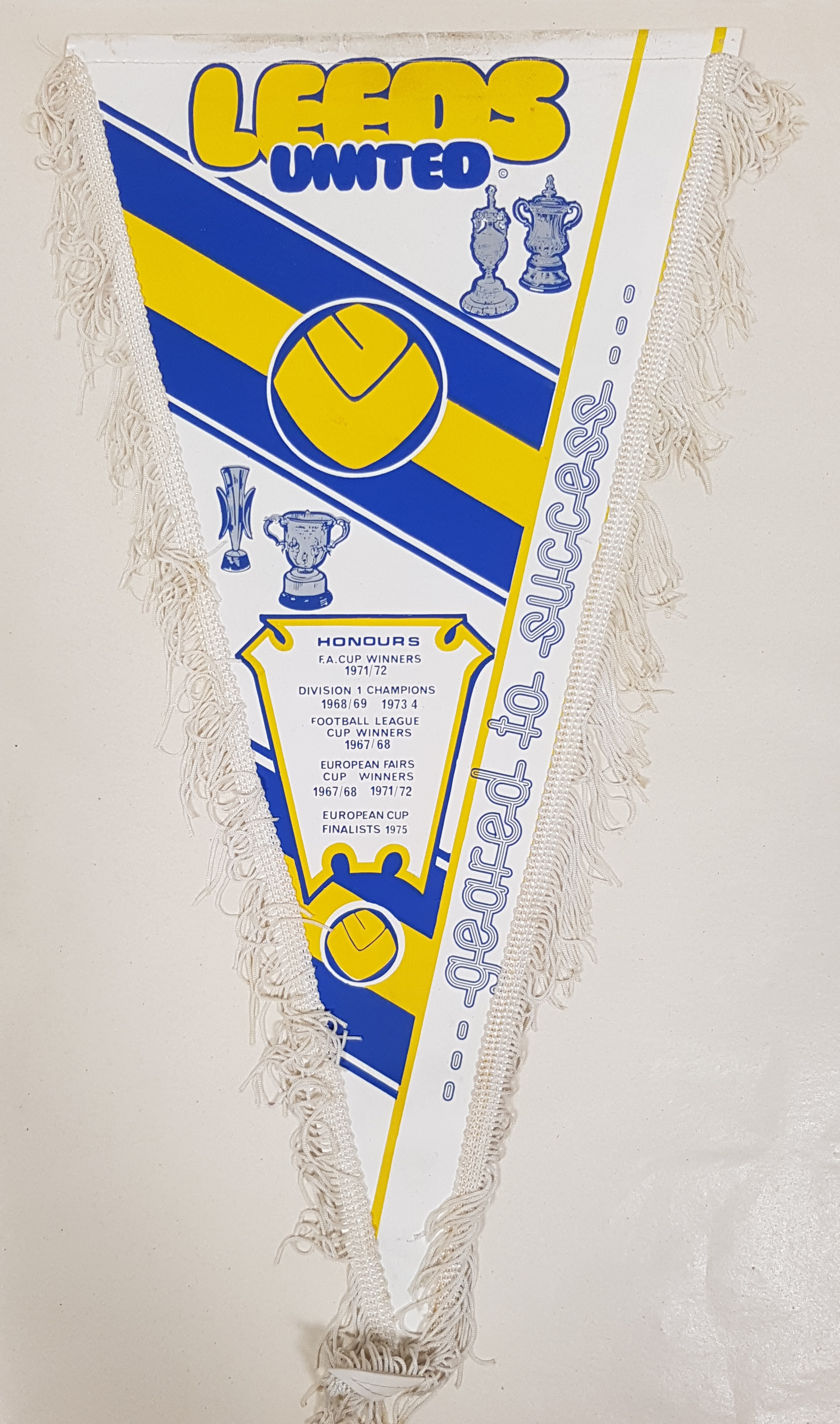 Pennant with a white background and a design in blue and yellow