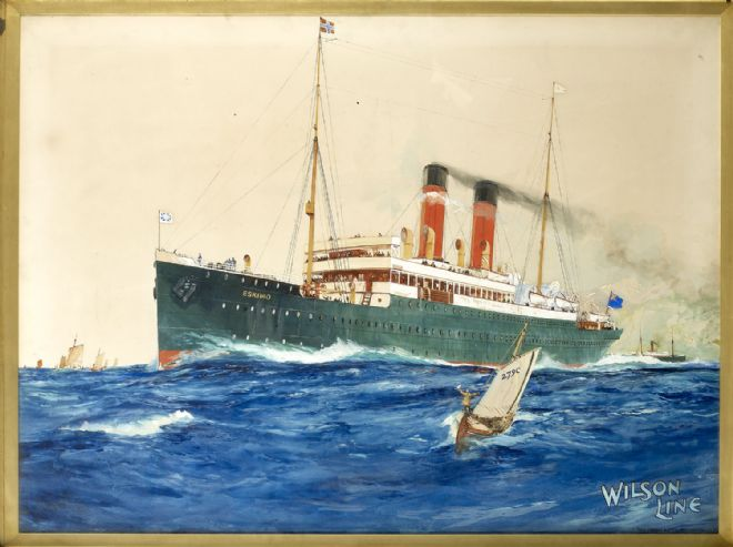 Poster showing the Wilson Line Ship the SS Eskimo