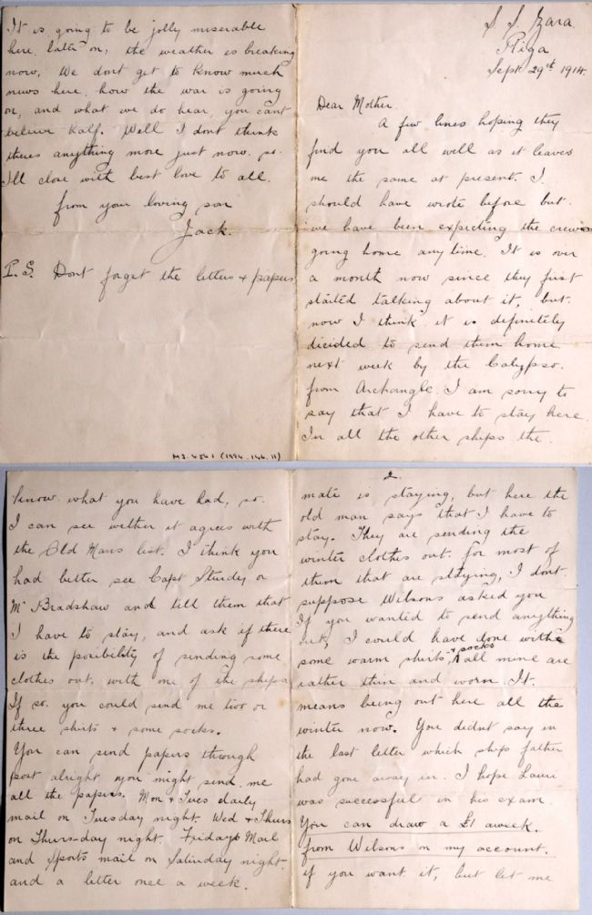 Letter from Jack Altoft to his mother, sent while serving on the Wilson line ship Zara in 1914