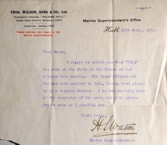 Telegram sent to Mrs Ada Altoft by the Marine Superintendent, Hull on 26 February 1916 about the SS Dido