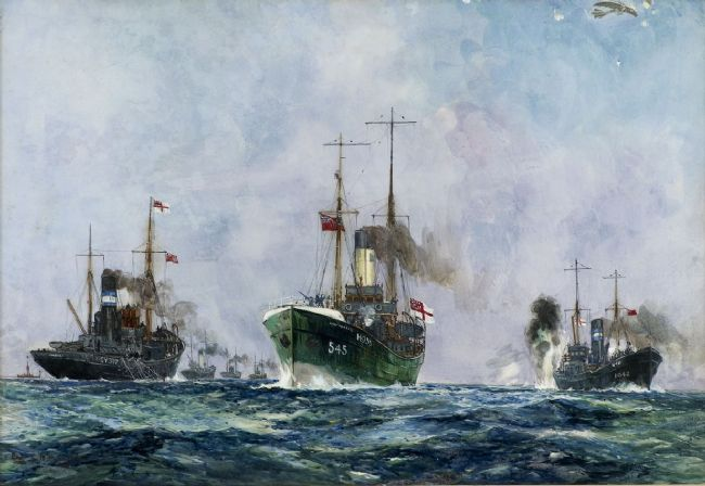 Watercolour painting entitled 'Armed Trawlers from Hull and Grimsby' showing three ships with smoke pouring from their funnels.