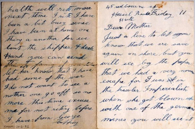 Letter from George Copping to his mother, written in September 1914, describing the sinking of the trawler 'Imperialist'