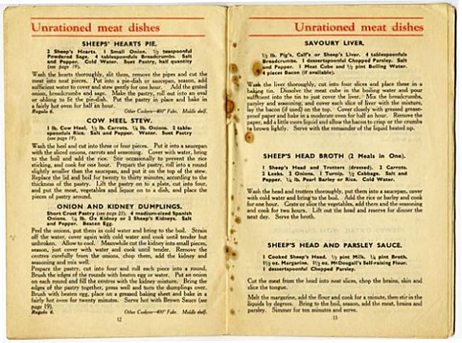 Pages from a wartime cookery book showing recipes for unrationed meat dishes.