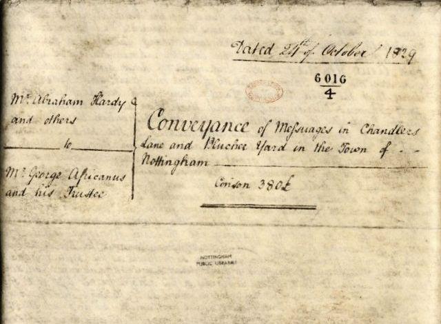 Hand written property conveyance deed from 1829.  Written in black ink.