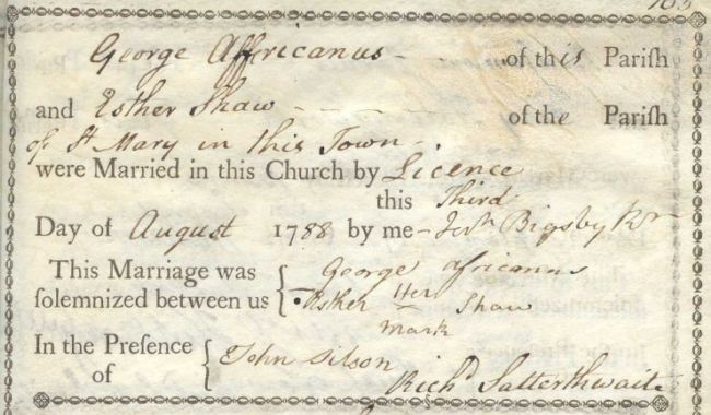 Printed and handwritten marriage certificate.  It's on yellowed paper with a design around the outside.