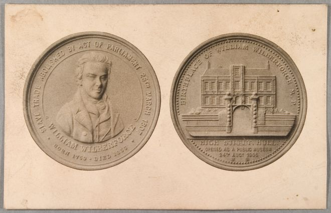 Front of the coin shows an image of William Wilberforce and the reverse shows an image of his house.