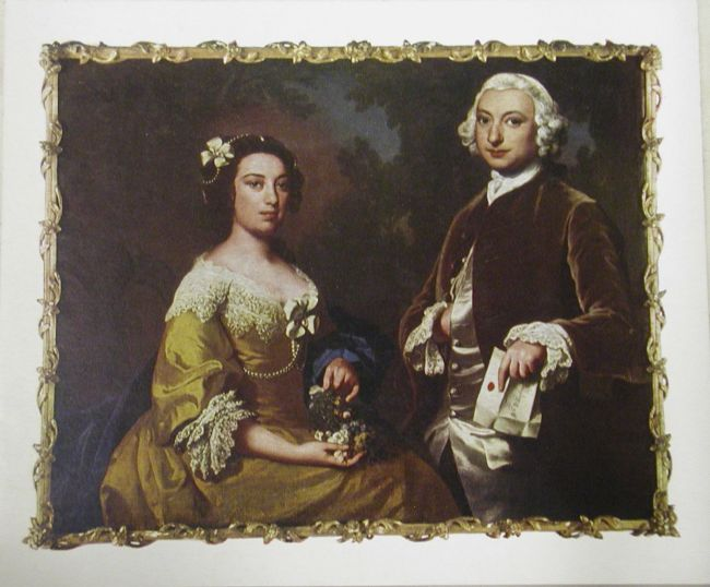 Double portrait of Hannah and William Wilberforce by Joseph Highmore c.1750.  They are clearly rich and wearing fine clothes.