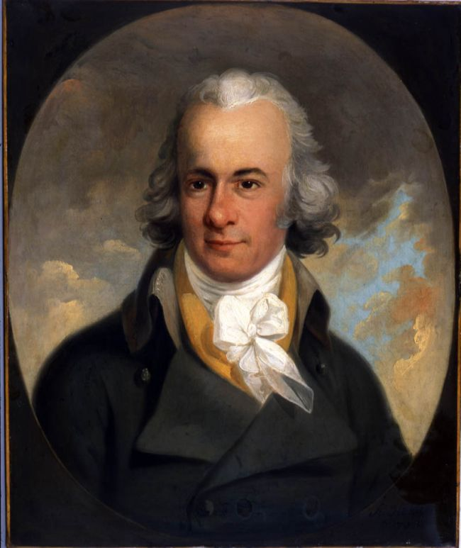 William Wilberforce, oil painting by Karl Anton Hickel, 1793 .  Willima has a white scarf tied at his neck and wearing a dark blue coat with a folded collar.