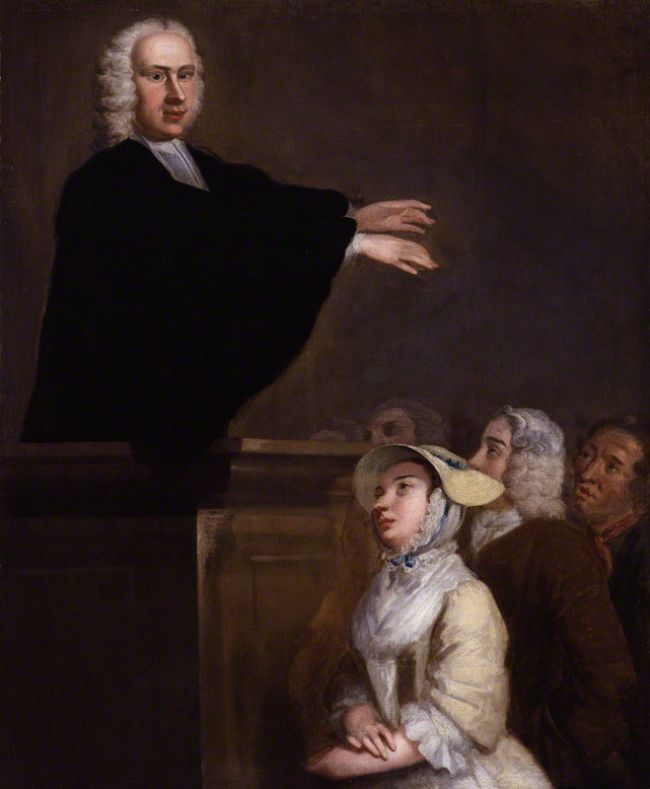 The painting shows George ministering to a congregation from a wooden pulpit