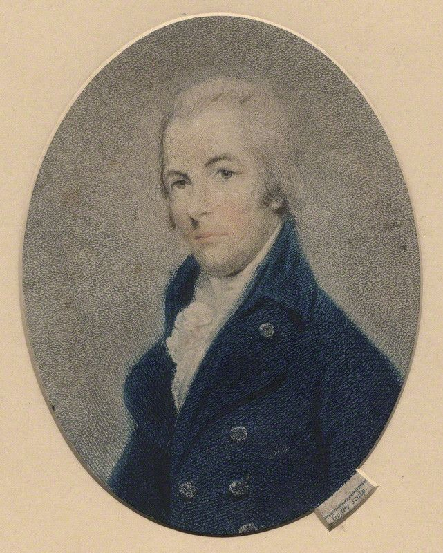 Portrait of William Pitt.  He wears a dark blue high-collared jacket with white shirt underneath.. He is clean shaven.