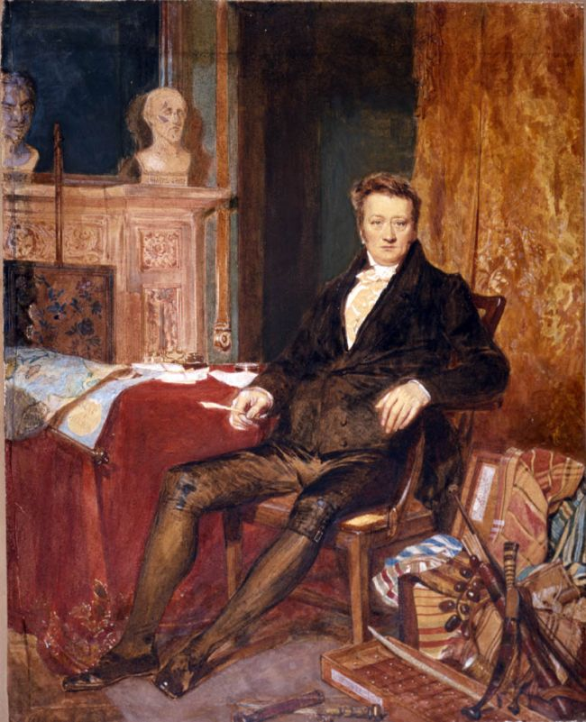 The portrait shows Thomas sitting on a chair next to a fireplace.  There are piles of clothes and other items on either side of her.