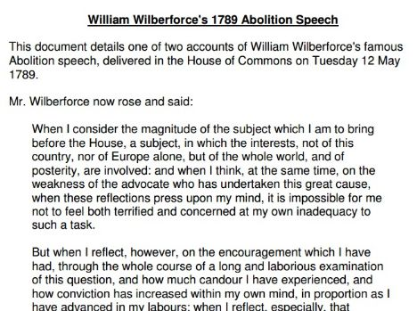 Text of Wilberforce's abolition speech