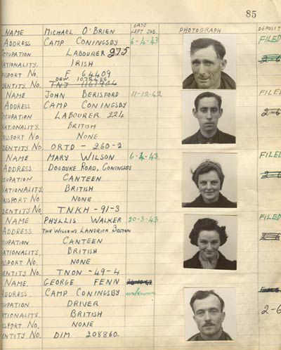Handwritten register and photos of workers at RAF Conningsby