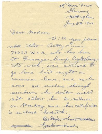 Hand written letter detailing a land army girl's sick leave for sunburn