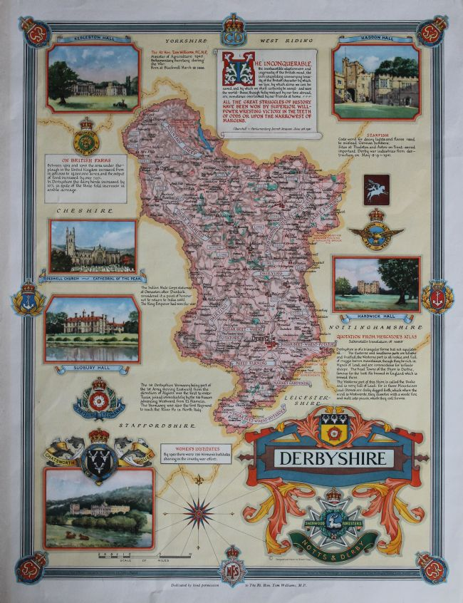 Map illustrated with photographs showing what work was done where in Derbyshire during WW2
