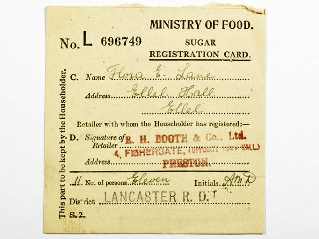 Card printed with 'Ministry of Food' and 'Sugar Registration Card'. Made out in the name of Flora E Lane.