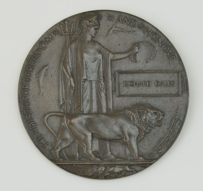 First World War Commemorative Plaque showing a figure with a trident, a lion and Richard's name engraved on it.
