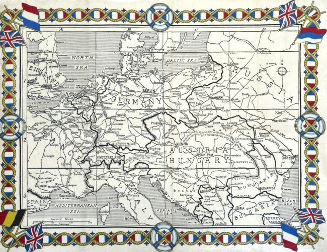 Hand drawn map of Europe in 1914, printed onto a cotton handkerchief