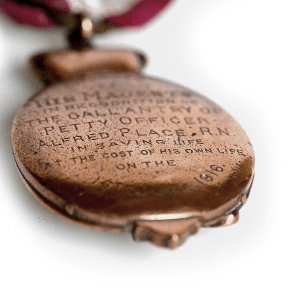Detail of inscription on reverse of Petty Officer Alfred Place's Albert Medal