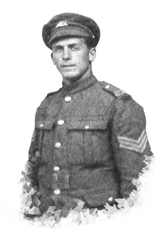Black and white image of young WW1 soldier in uniform