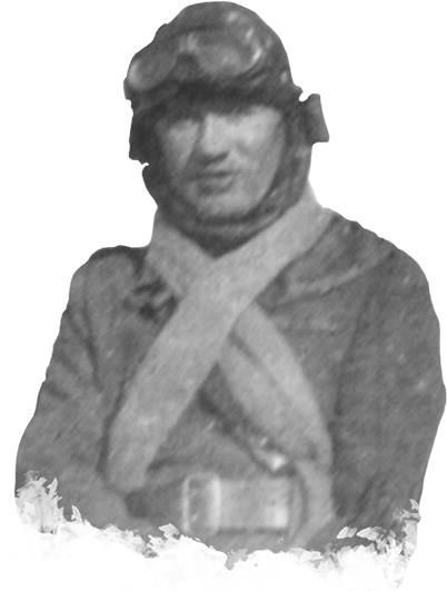 Black and white photograph showing a man in flying gear