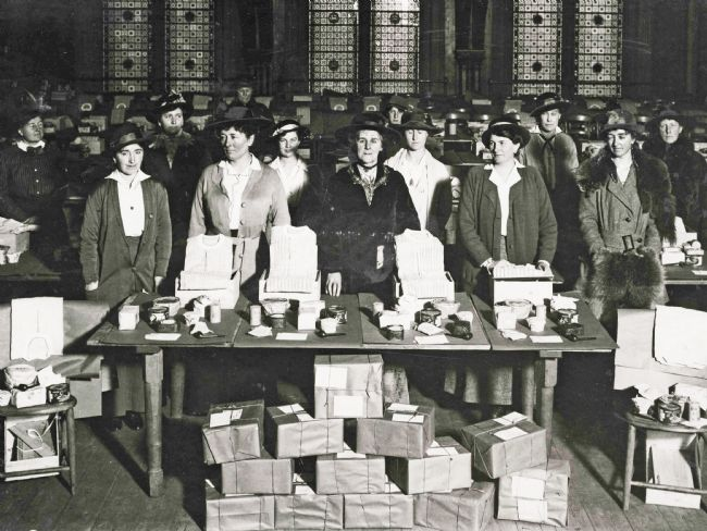 The POW committee members with boxes about to be sent to prisoners in Germany