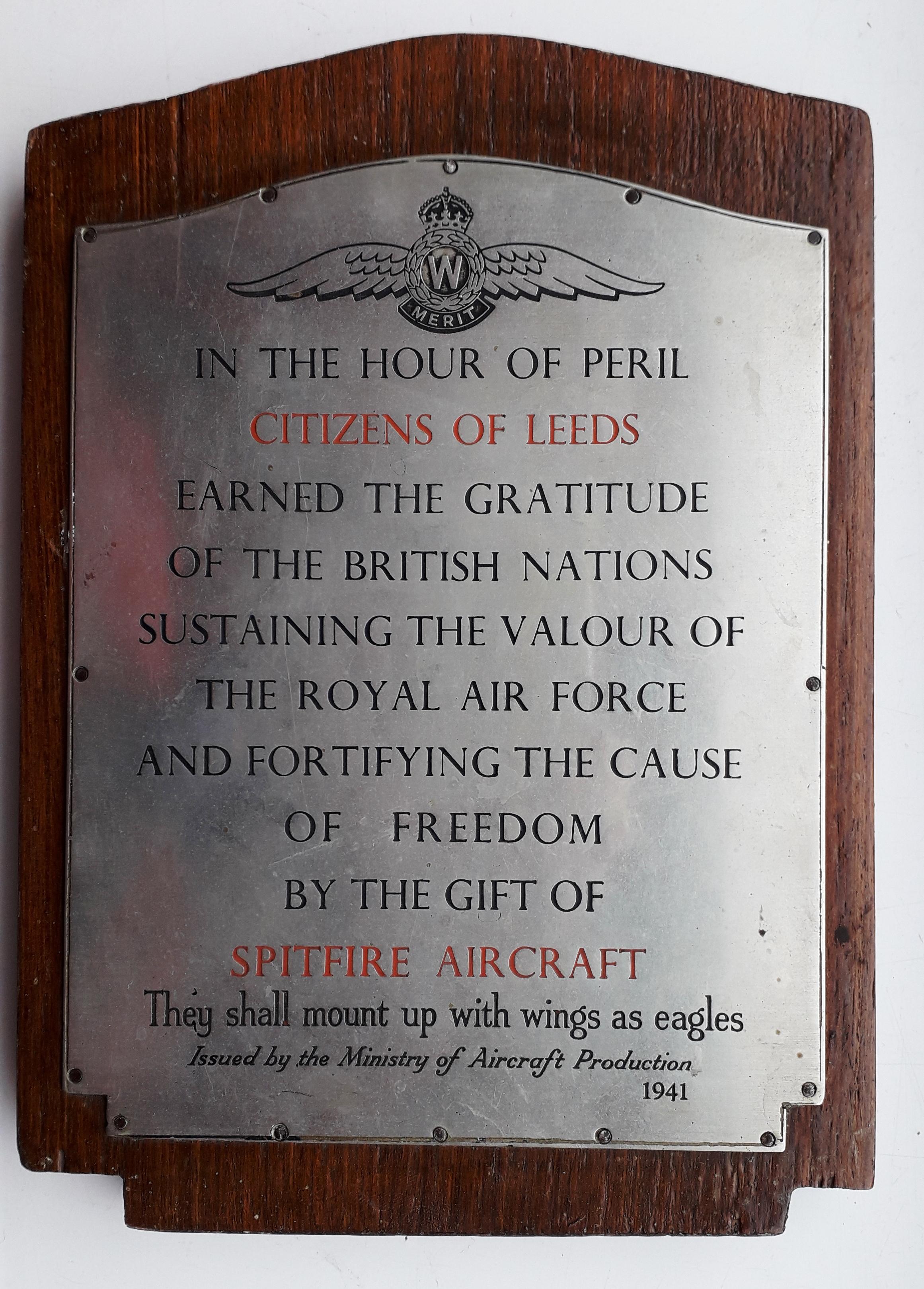 Leeds Spitfire Plaque