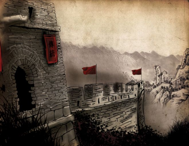 Illustration of the Great Wall of China from Yong's China Quest game