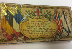 Gift tin of chocolate sent to York servicemen at Christmas WW1
