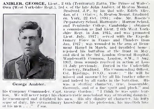 Extract about George Ambler from the book The Roll of Honour 1914-1924
