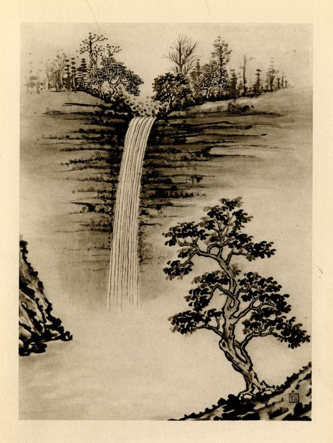 Illustration from The Silent Traveller in the Yorkshire Dales - picture of a waterfall, with trees above and below