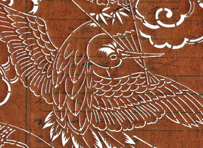 Detail shows a close up of the crane bird.