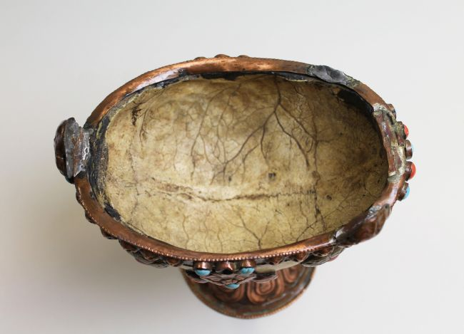Inside the Tibetan skull cup showing the lines of the skull plates