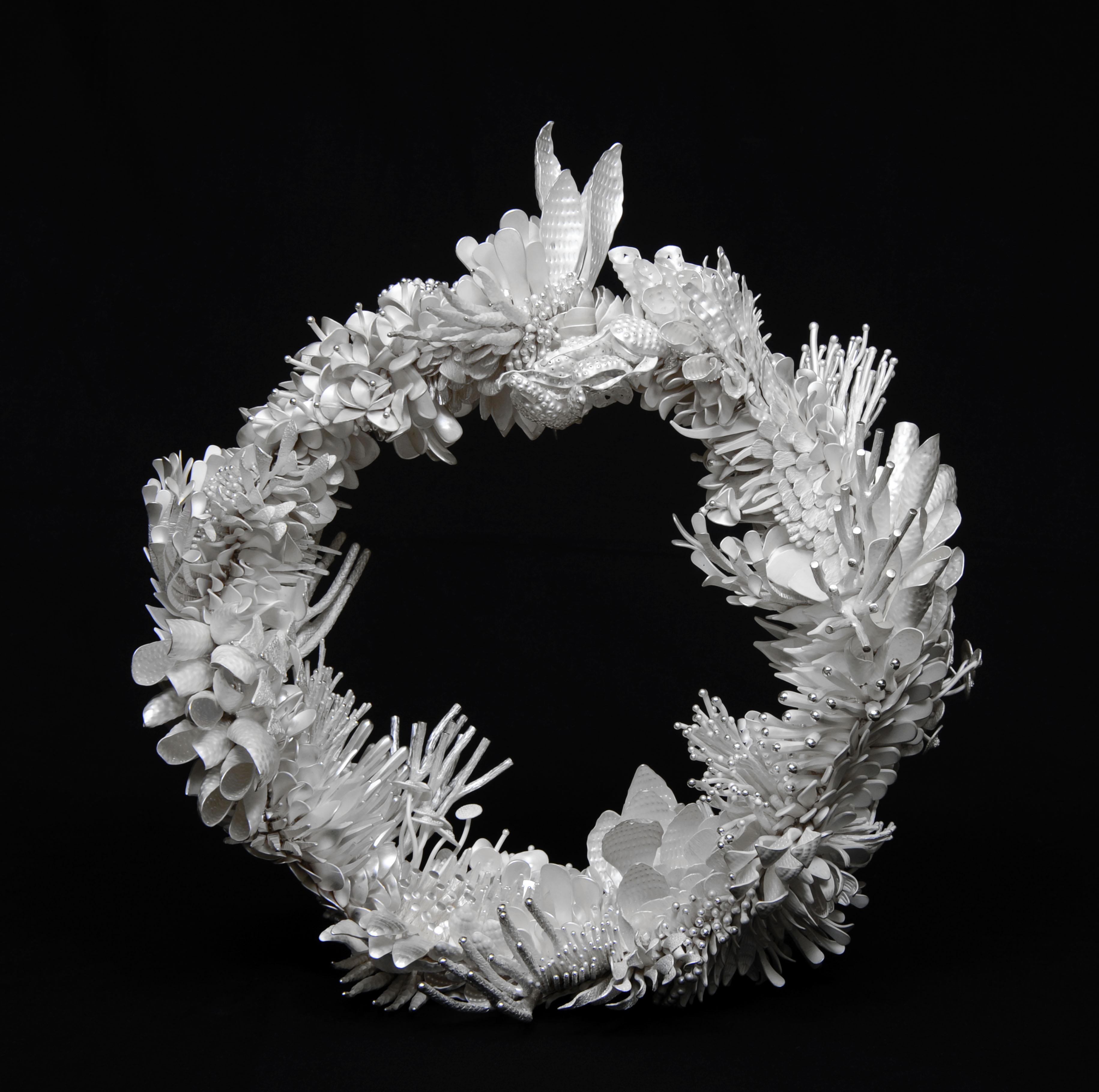 Silver wreath sculpture by Junko Mori.
