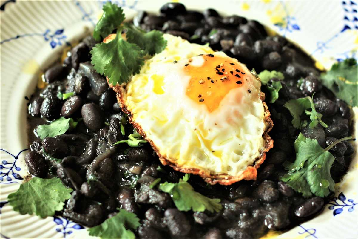 Crispy Fried Egg and Black Beans