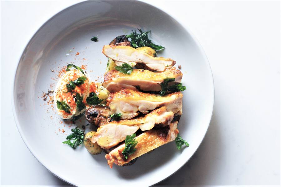 Cured Chicken Leg with Jersey Royals Image