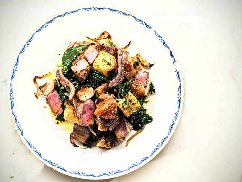 Lamb Chops with Spinach and Croutons