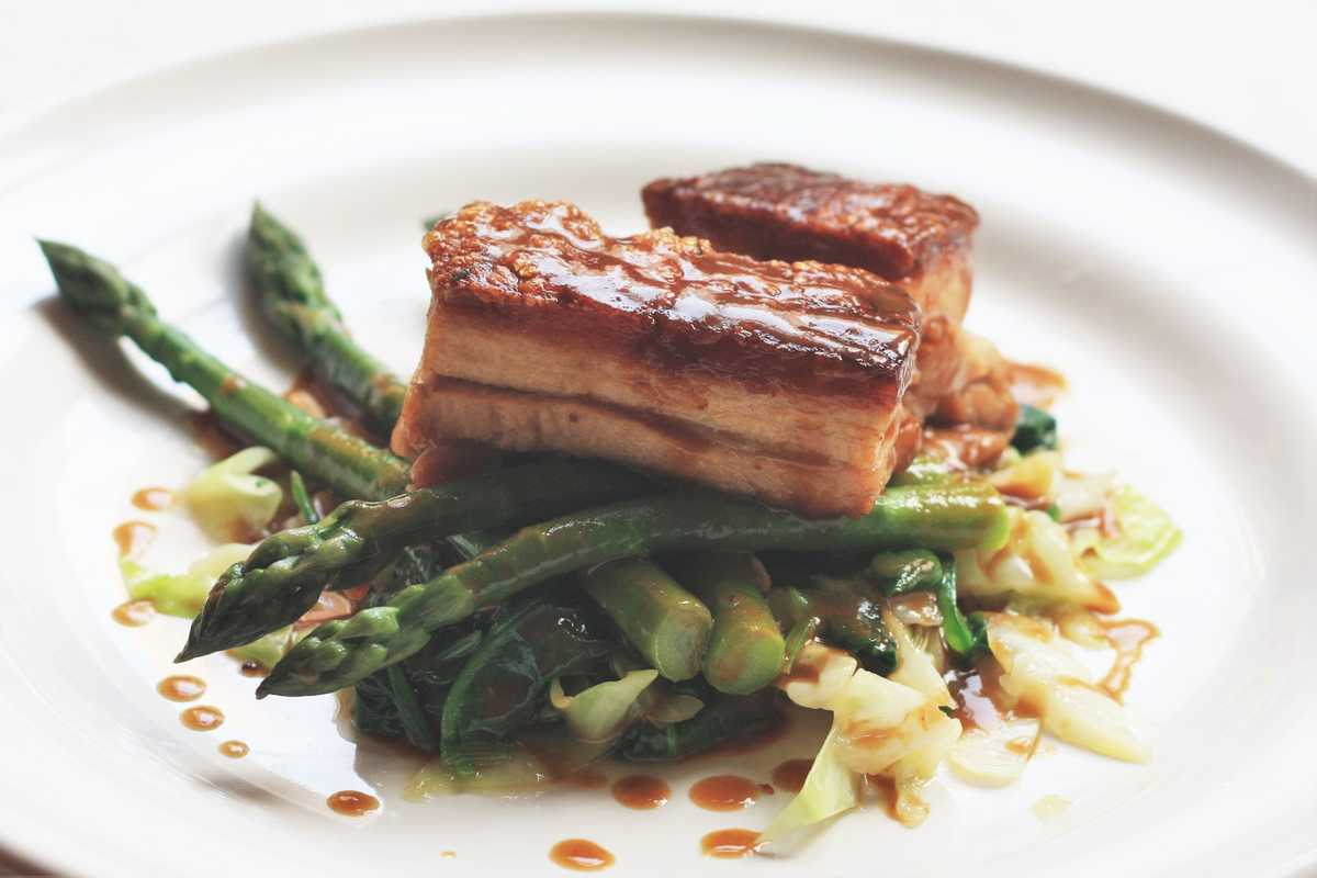 Pork Belly, Asparagus and Ale Sauce