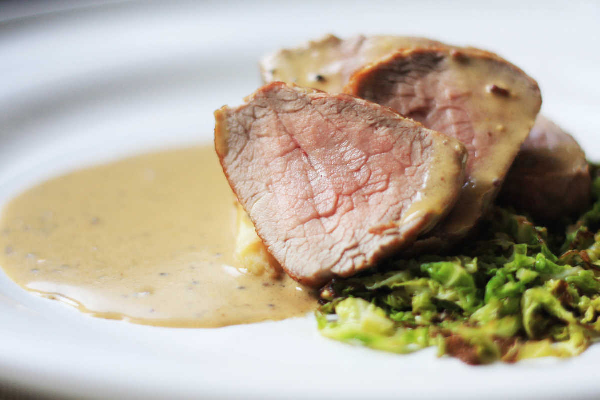 Roast Pork Fillet, Grain Mustard Sauce Image