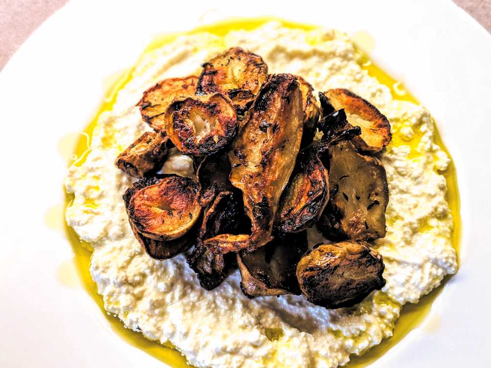 Roasted Jerusalem Artichokes with Ricotta