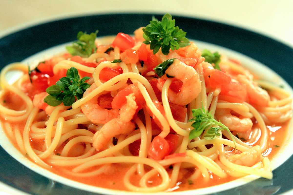 Tomato Concasse and Prawn Spaghetti