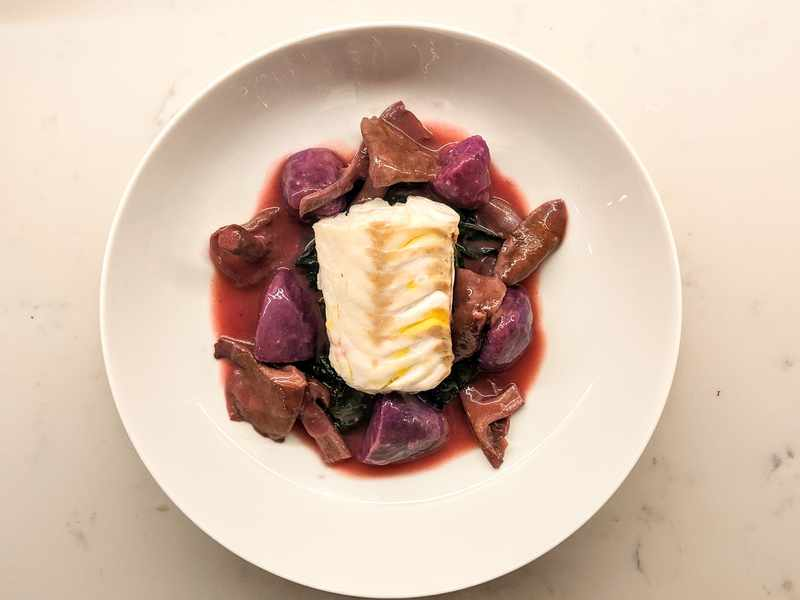 Wood Blewits, Purple Potatoes and Steamed Hake
