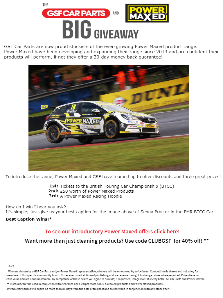 WIN BTCC TICKETS WITH GSF CAR PARTS - The Big Give Away! ** - VW Eos ...