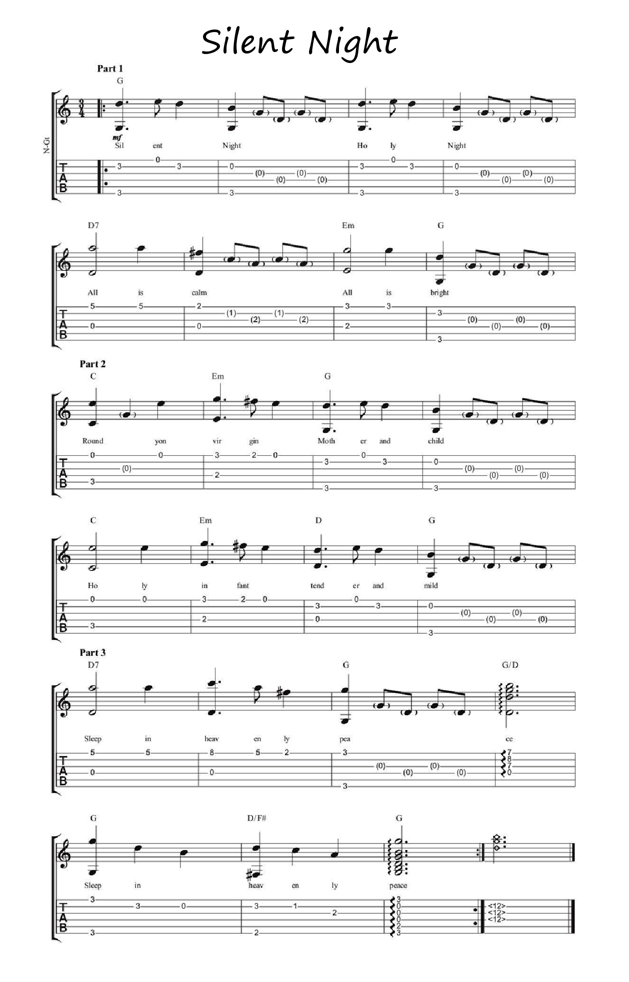 learn my medium difficulty fingerstyle arrangement of silent night with tab chords and a. Black Bedroom Furniture Sets. Home Design Ideas