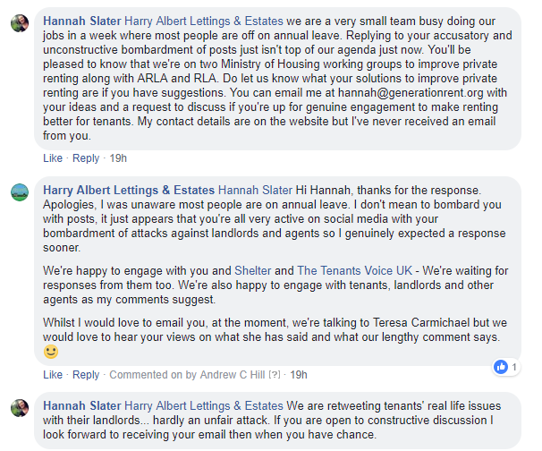 Comment thread between Harry Albert Lettings & Estates and Generation Rent End Section 21 Campaign
