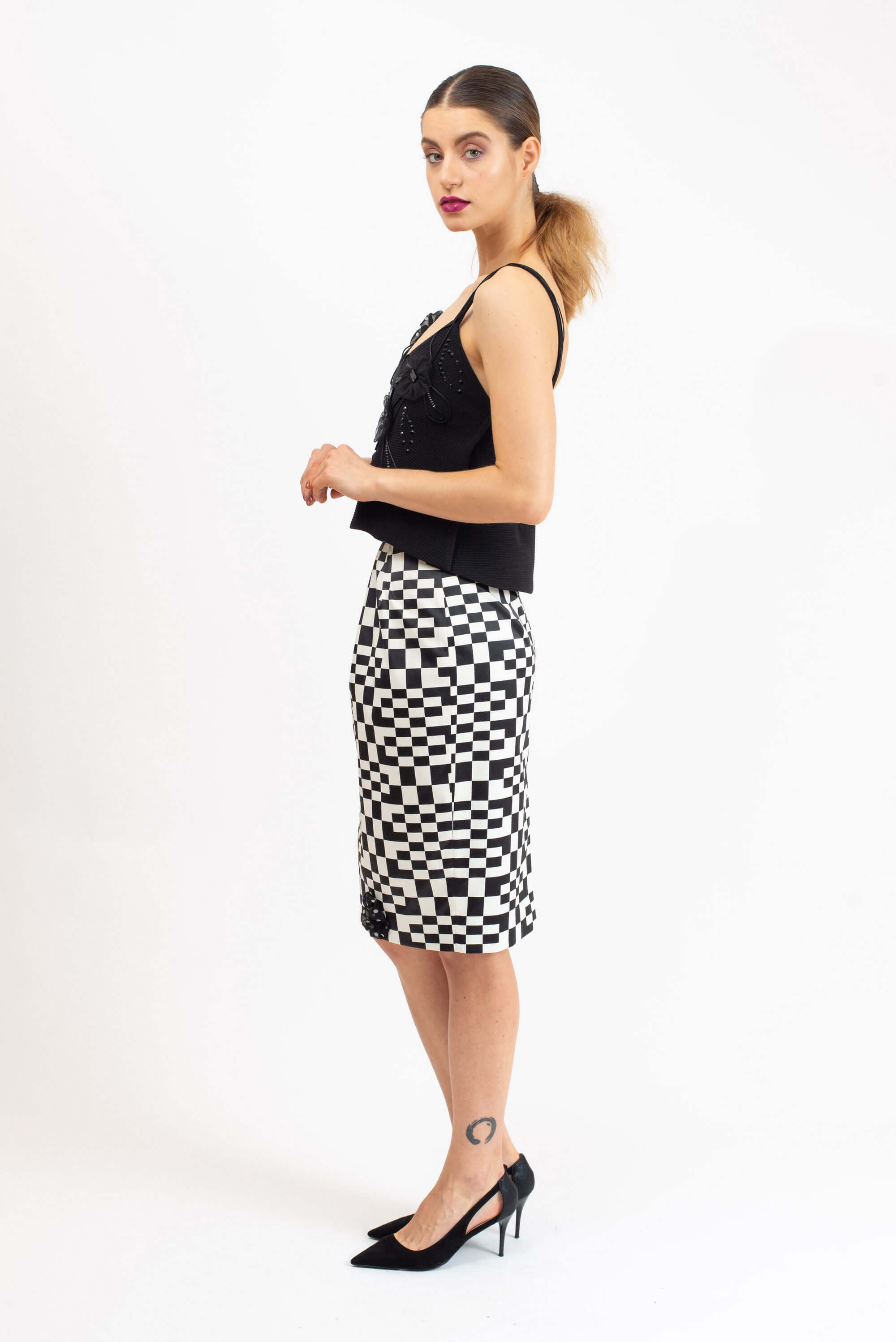 POLY-COTTON BLACK AND WHITE SKIRT