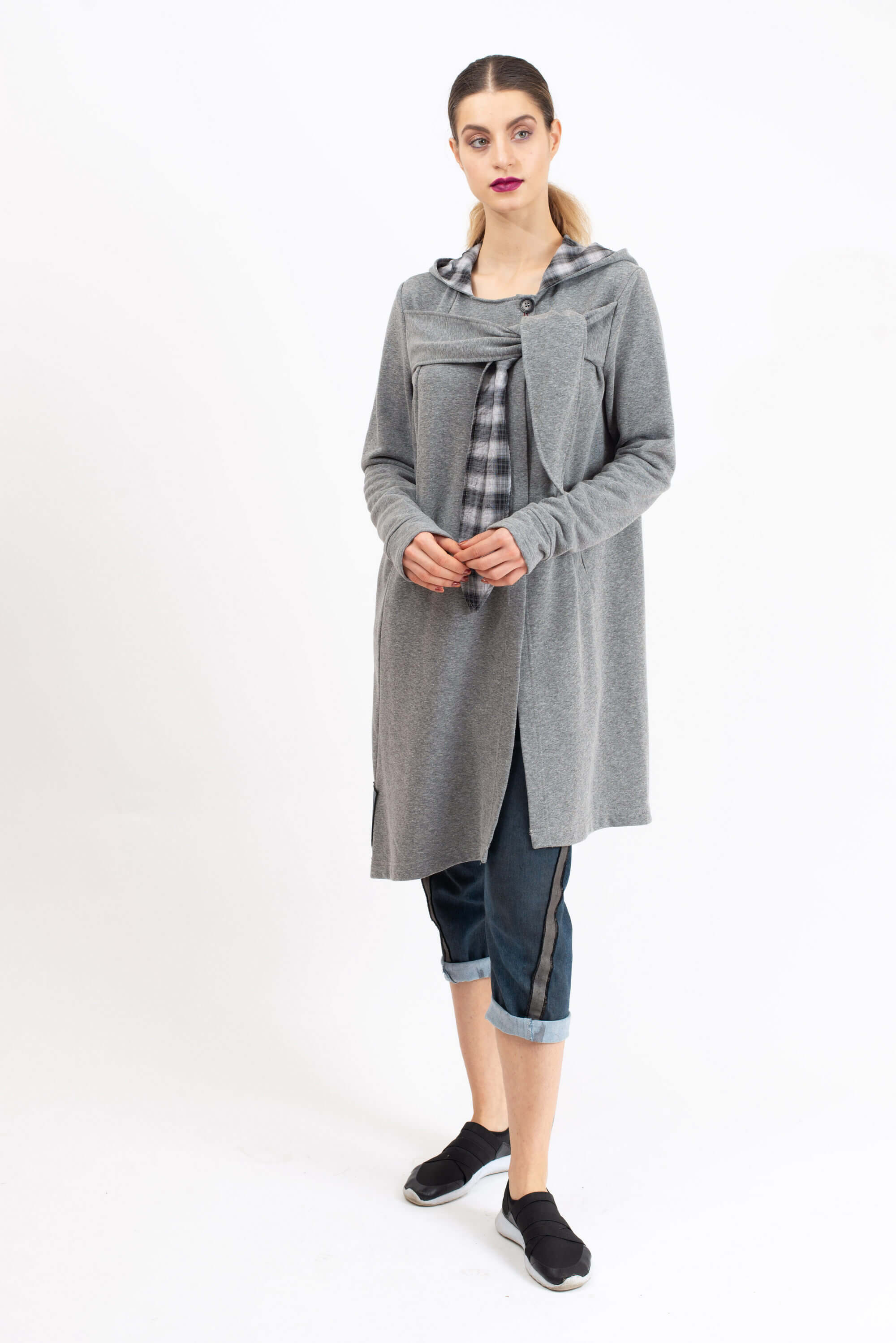 DOUBLE HOODED CARDIGAN